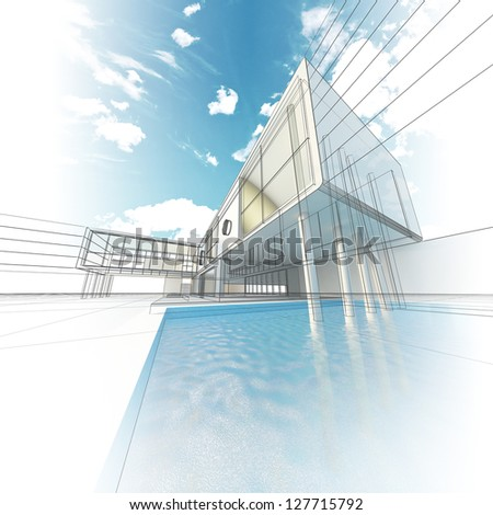 Modern concept building. My design, model and textures - stock photo