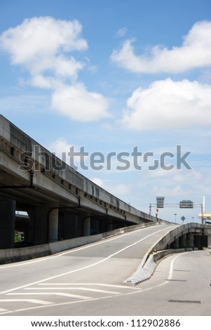 Modern concrete elevated road way - stock photo