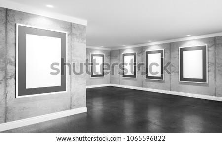 Modern Concrete Gallery Room Directional Spotlight Stock ...