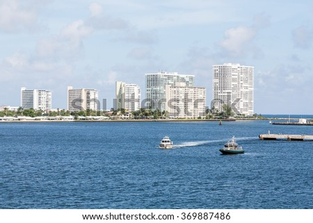 Modern condos around the harbor of Port Everglades in Fort Lauderdale Florida