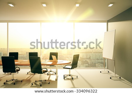Modern conference room with furniture and city view at sunrise 3D Render - stock photo