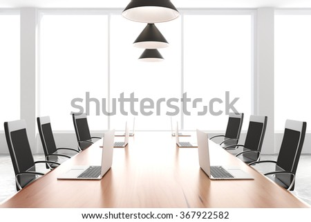 Modern conference room with furniture, laptops and big windows 3D Render - stock photo
