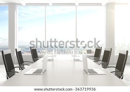 Modern conference room with furniture, laptops, big windows and city view 3D Render - stock photo