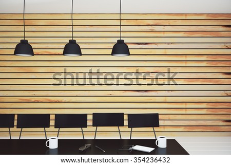 Modern conference room with lamps, furniture and wooden wall 3D Render - stock photo