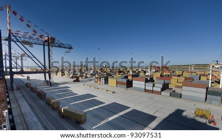 Modern Container Port Terminal, South Africa - stock photo