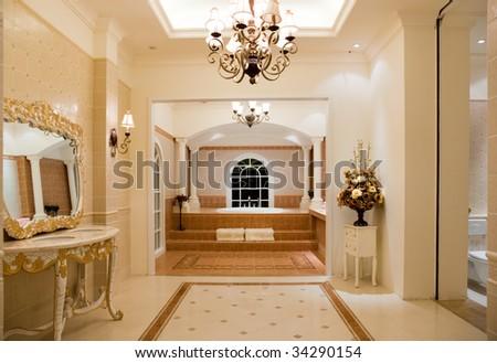 Modern contemporary style master bathroom. - stock photo