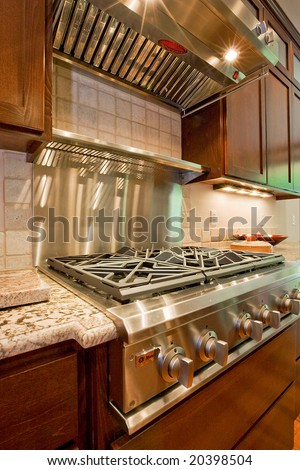 Modern cook-top in a contemporary style kitchen - stock photo