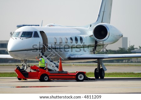 Modern corporate jet airplane - stock photo
