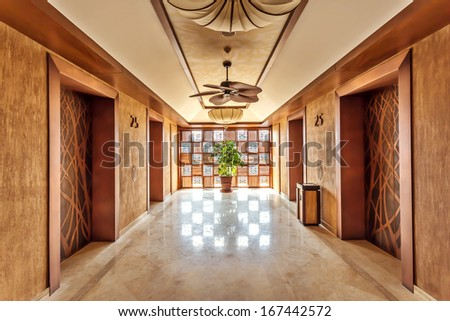 Modern corridor interior  - stock photo