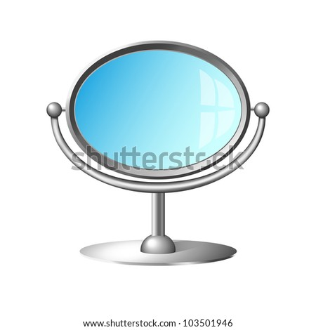 Modern cosmetic mirror with silver metal frame and handle isolated on white background. Raster illustration. Vector file included in portfolio
