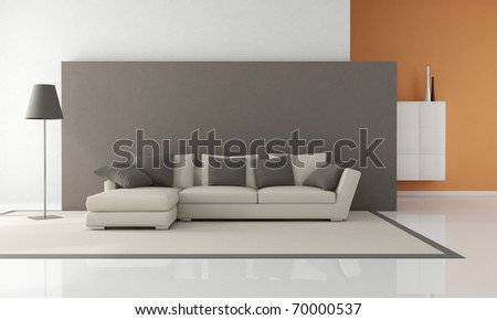 modern couch in a minimalist lounge - rendering - stock photo