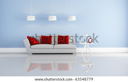 modern couch with cushion in a blue minimalist interior-rendering - stock photo