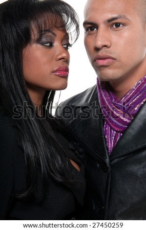 Modern couple of young models looking intense. - stock photo