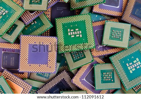 Modern CPU background processor logos removed - stock photo