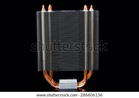 Modern CPU cooler isolated on a black background - stock photo