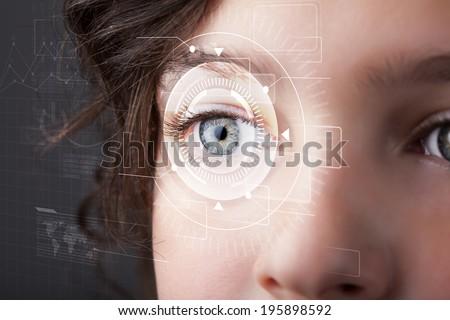 Modern cyber girl with technolgy eye looking - stock photo