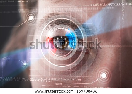 Modern cyber man with technolgy eye looking - stock photo
