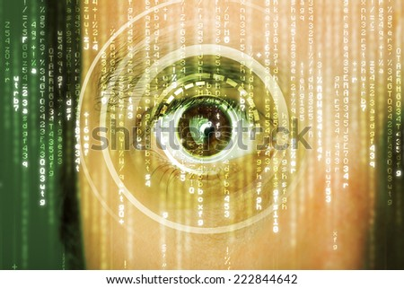 Modern cyber soldier with target matrix eye concept - stock photo