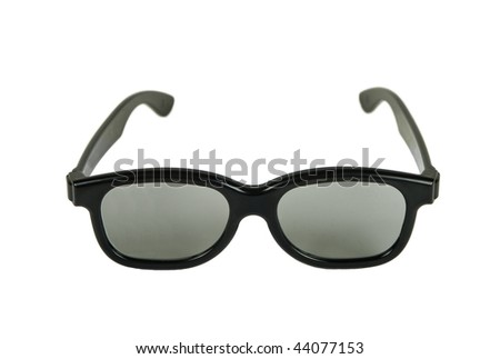 Modern 3D glasses isolated on white