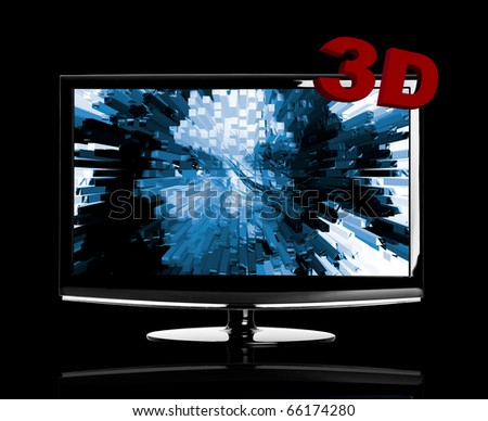 Modern 3D LED TV isolated on black showing a 3D movie