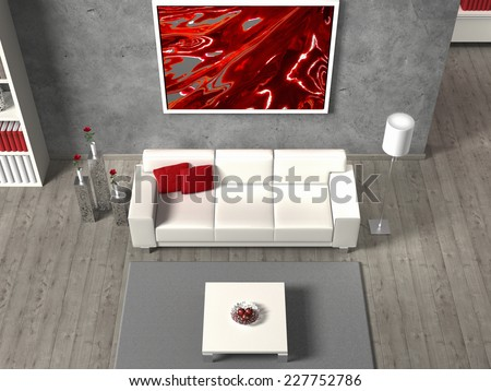 modern 3d living room interior in aerial view - stock photo