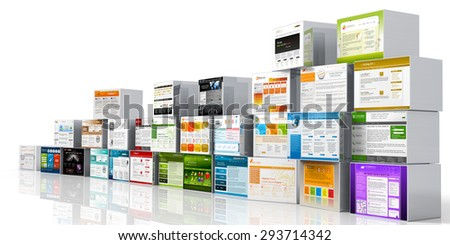Modern 3D Web Design Template Website Head - Mapped on Aluminum Boxes and White Background. Stacked and Arranged. For Advertising and Promotions. With Space for Your Own Logo. - stock photo