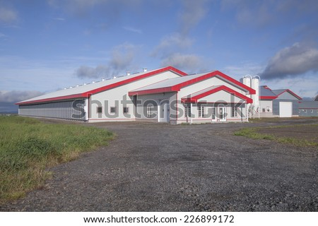 Modern dairy barn located in Quebec, Canada