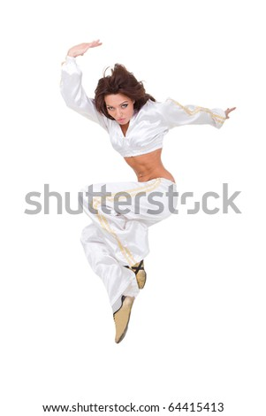 Modern dancer jumping against isolated white background