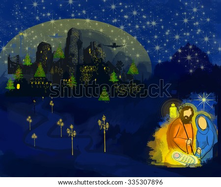 Modern day Bethlehem Christmas nativity scenery with Holy family Mary Joseph And Jesus with a city in the background. Concept of celebrating Christmas without Jesus. - stock photo