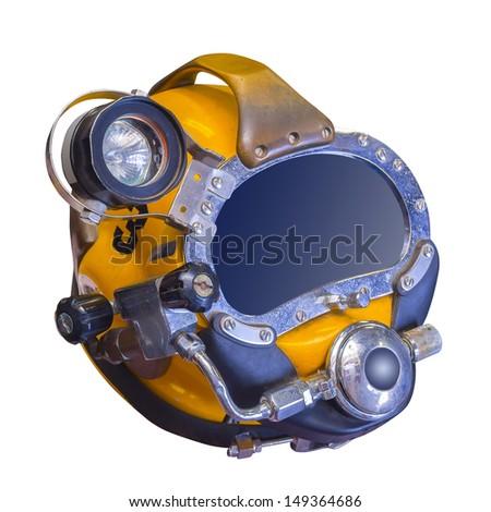 Modern deep sea diving helmet used at depths of 1500 ft. - stock photo