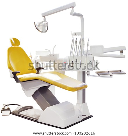 Modern Dentist Chair Isolated with Clipping Path - stock photo