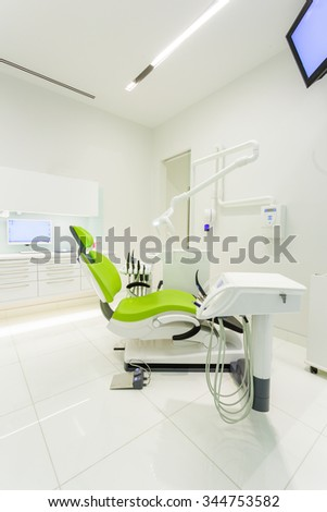 Modern Dentist's medical room. Dentist Office with equipment - stock photo