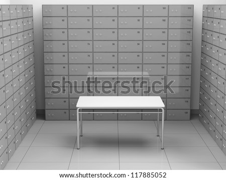 Modern Deposits Bank Safe Interior - stock photo