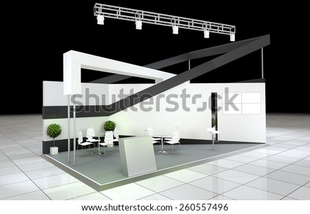 modern design abstract exhibition stand  - stock photo