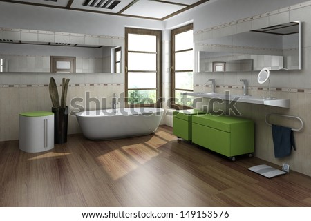 Modern design bathroom interior - stock photo