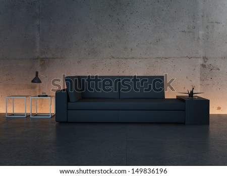 Modern design black couch against illuminated concrete wall - stock photo