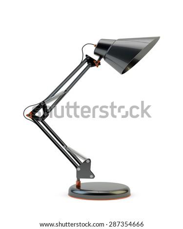 Modern design black office desk lamp isolated on white background - stock photo