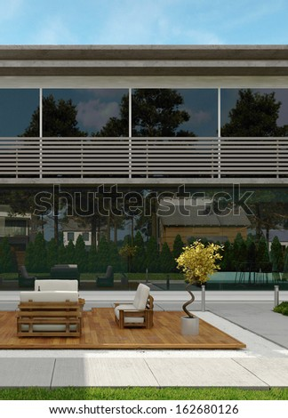 Modern design house exterior - stock photo