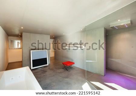 Modern design, interior house, bathroom with television - stock photo
