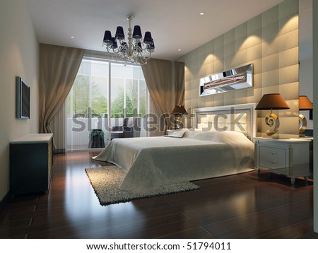 modern design interior of bedroom. 3D render - stock photo