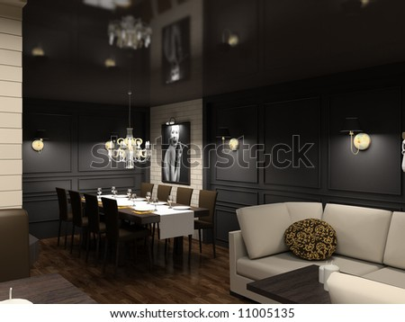Modern design interior of dining-room. 3D render - stock photo
