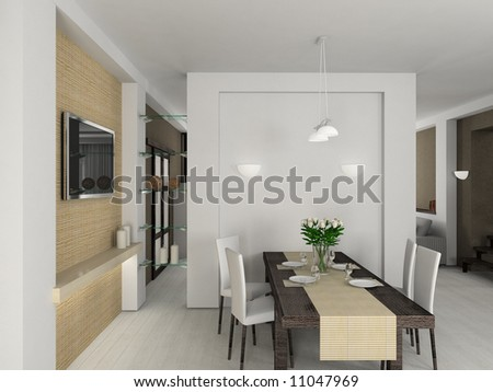 Modern design interior of dining-room. 3D render