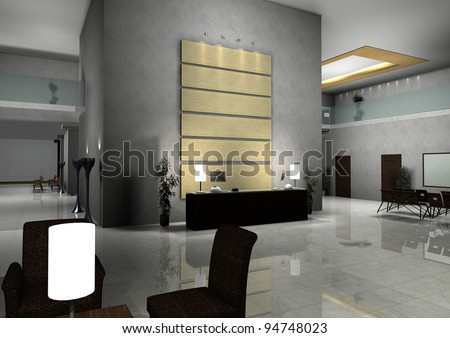 modern design interior of hall,corridor.3d rendered - stock photo