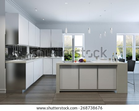 Modern design kitchen interior.3d render