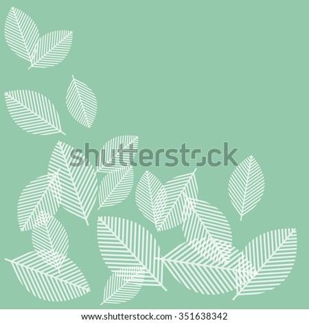 Modern design leaves in a corner motif over green - stock photo
