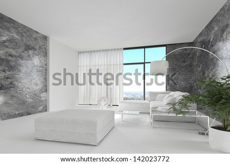 Modern design living room with white couch - stock photo