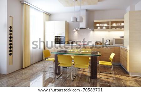 modern design of a  kitchen interior 3d render - stock photo