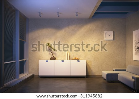 modern design of lounge room - stock photo