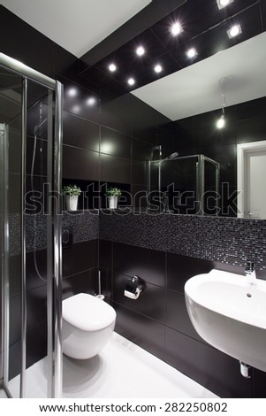 Modern design of small bathroom with black tiles
