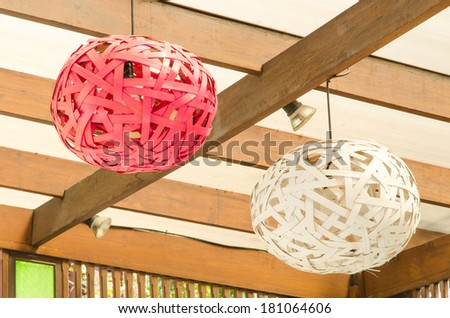modern design of wood ceiling lamps - stock photo